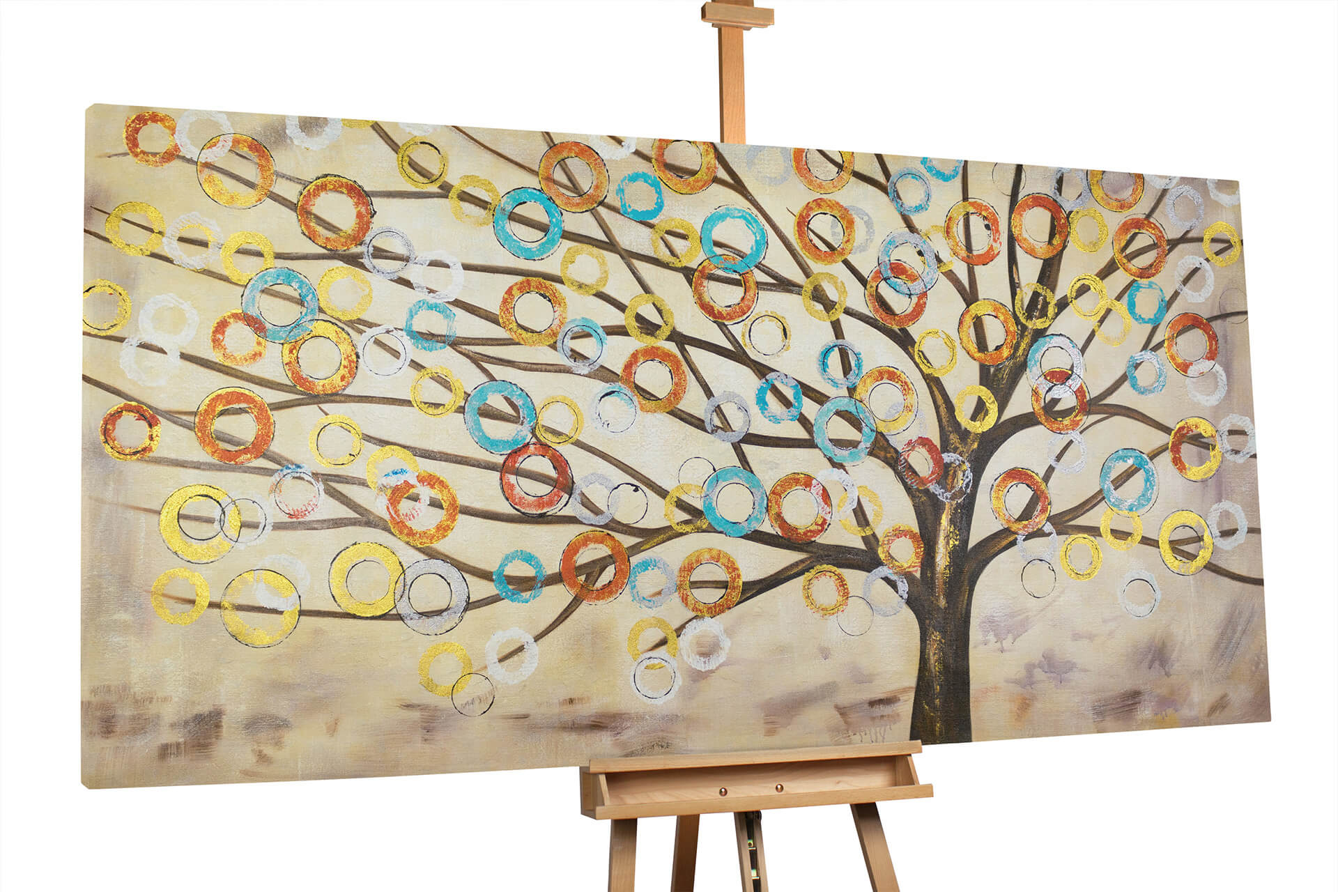 Xxl Oil Painting Miraculous Tree 79x39 Inches